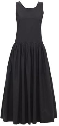 Sara Lanzi Bow-back Pleated Cotton Midi Dress - Womens - Black