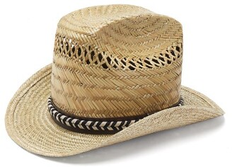 Saint Laurent Leather And Braid-trimmed Straw Hat - Beige