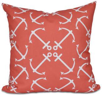 "Anchor's Up, Geometric Print Pillow, Orange, 18""x18"""