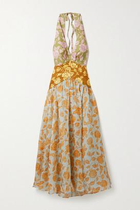 Zimmermann The Lovestruck Floral-print Linen Halterneck Midi Dress - Orange