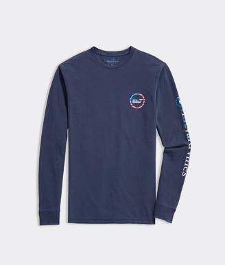 Vineyard Vines Garment-Dyed USA Whale Dot Long-Sleeve Tee