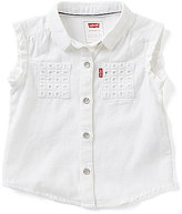 Levi's Baby Girls 12-24 Months Eyelet Patch-Pockets Rolled-Sleeve Denim Top
