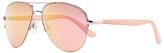 John Lewis Aviator Sunglasses, Blush/Mirror Pink