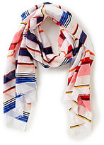 Kate Spade Berber Striped Cotton & Silk Oblong Scarf
