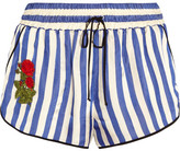 Off-White Embroidered Striped Silk Shorts - Blue
