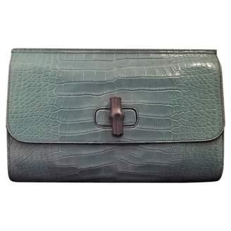 Gucci Bamboo Green Crocodile Clutch bags