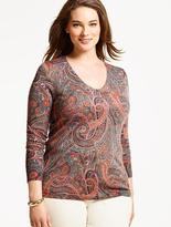 Talbots Merino Wool V-Neck Sweater - Sophisticated Paisley