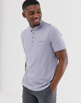 Ted Baker polo shirt in gray with slub texture