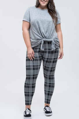 Blu Pepper Plaid Zip Detail Jegging Pants (Plus Size)