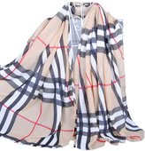 Alysee Women Fashionable Grid Cashmere Chiffon Warm Long Scarf Shawl Wrap Color