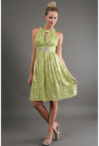 Kay Unger Metallic Halter in Sage