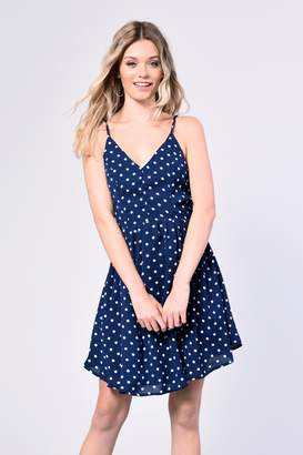 Glamorous Womens **Polkadot Cami Dress By Navy Blue