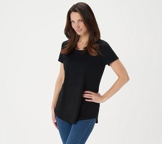 Isaac Mizrahi Live! SOHO Short-Sleeve Knit Tunic with Crossover Back