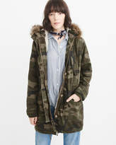 Abercrombie & Fitch Sherpa-Lined Twill Parka