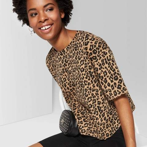 30dd0d31 Wild Fable Women's Leopard Print Short Sleeve Oversized Crewneck Boxy  T-Shirt - Wild FableTM Brown