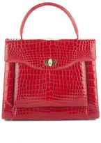 NWT DESIGNER Red Alligator Gold Tone One Handle Structured Satchel Handbag $8185