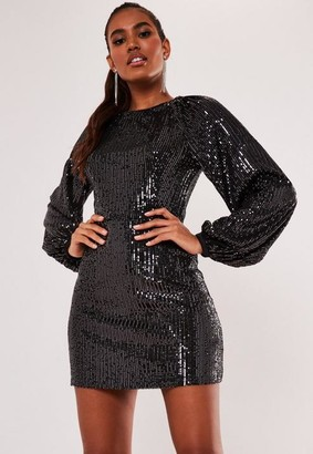 Missguided Grey Sequin Balloon Sleeve Shift Dress