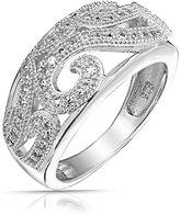 Bling Jewelry Pave CZ Vintage Style Swirl Ring 925 Sterling Silver