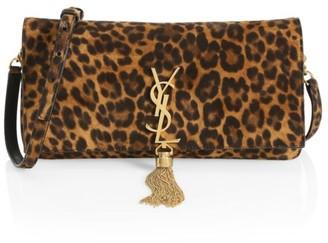 Saint Laurent Kate Tassel Leopard-Print Leather Baguette