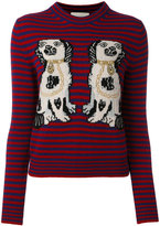 Gucci dog patch stripe top - women - Wool - S