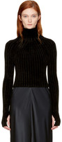 Helmut Lang Black Cropped Velvet Turtleneck