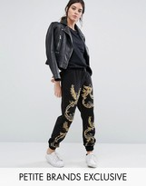 Starry Eyed Petite Joggers With Gold Bird Beaded Applique