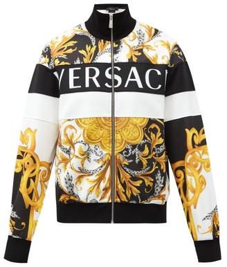 Versace Baroque-print Technical Jersey Track Jacket - Black Yellow
