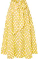 Lisa Marie Fernandez Polka-dot Linen Midi Skirt - Pastel yellow