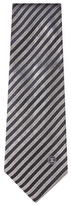 Chanel Vintage Grey Stripe Silk Jacquard Tie