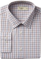 Haggar Men's Mechanical Stretch Poplin Windowpane Fancy Long Sleeve Fitted Point Collar Dress Shirt