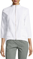 XCVI Kylie High-Low Zip Jacket, White
