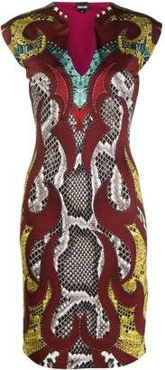 Just Cavalli Snakeskin Print Pencil Dress