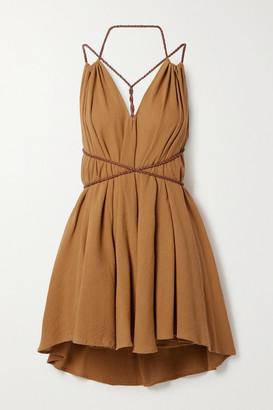 CARAVANA Net Sustain Mahahual Braided Leather-trimmed Cotton-gauze Mini Dress - Camel