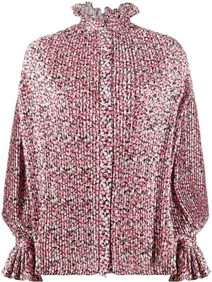 Wandering Pleated Floral Print Blouse