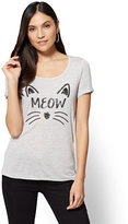 "New York & Co. Halloween Sequin ""Meow"" Graphic Logo Tee"