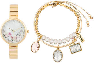 clear ALEXIS BENDEL Alexis Bendel Crystal Womens Gold Tone 3-pc. Watch Boxed Set-6948g-42-E27