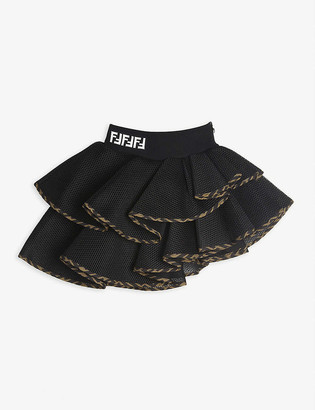 Fendi FF-trim frilled mesh skirt 4-14 years