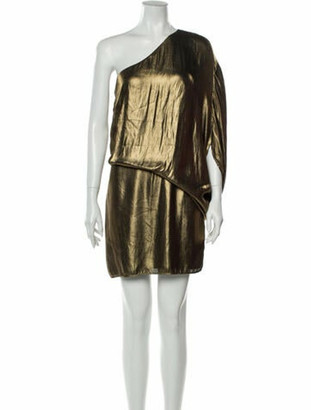 Halston One-Shoulder Mini Dress Gold