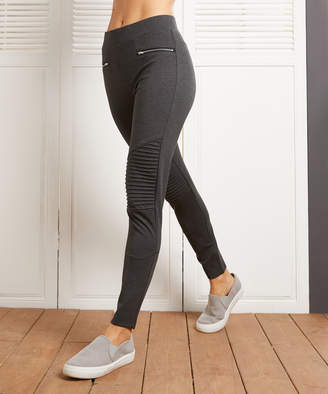 Suzanne Betro Weekend Women's Leggings 102CHARCOAL - Charcoal Zip Ribbed Leggings - Women & Plus