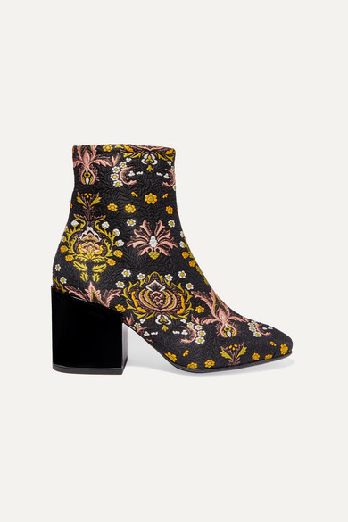 Dries Van Noten Floral-jacquard Ankle Boots - Black