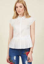 What good is head-turning style when it's tucked away in the office? Step out and advertise this white blouse's crisp collar, cap sleeves, and pleated peplum! A semi-sheer separate from our ModCloth namesake label, this shirt appeals to ensembles for both