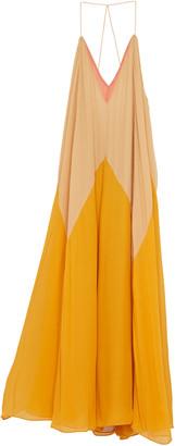 Dorothee Schumacher Summer Heat Colorblock Silk Maxi Halter Dress