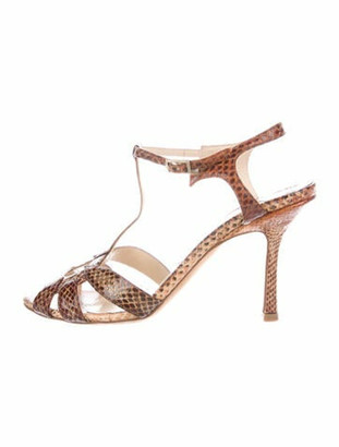 Jimmy Choo Snakeskin Cutout Accent T-Strap Sandals Brown