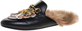 Gucci Black Tiger Embroidered Leather and Fur Lined Princetown Mules Size 37.5