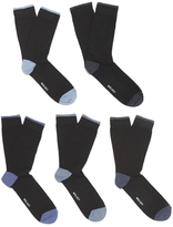 Wolsey 5 Pack Heel And Toe Design Socks Blue