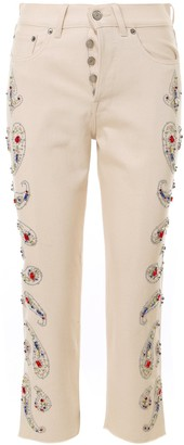 Golden Goose Embellished Cropped Denim Jeans