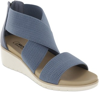 Mia Amore Criss-Cross Elastic Wedge Sandals - Casandraa
