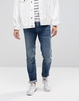 Selected Homme Mid Wash Skinny Jersey Jeans In Super Stretch