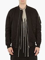 Rick Owens Black Cotton Flight Jacket