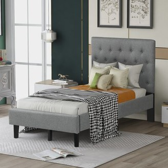Latitude Run Curtis Joseph Twin Solid Wood and Upholstered Low Profile Platform Bed Color: Gray